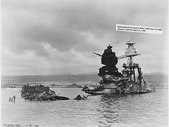 Wreckage of the USS Arizona, December 10, 1941 (Credit: U.S. Department of Defense)
