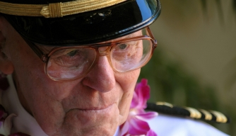 USS Arizona survivor, retired Lieutenant Commander Joseph Langdell at the 65th anniversary commemorations at Pearl Harbor, 2006.