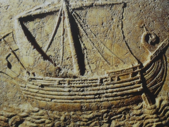 Engraving of Phoenician ship