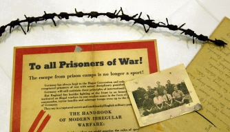 Items relating to the 1944 POW escape from Stalag Luft III on display at London's Imperial War Museum