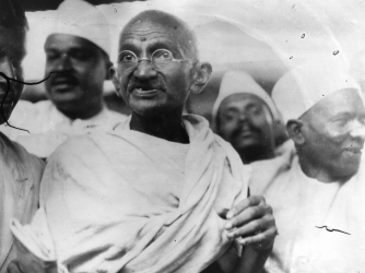 Gandhi leading the Salt March. (Credit: Central Press/Getty Images)