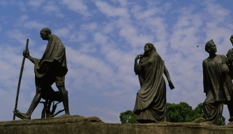 Statues commemorating the Salt March in New Delhi, India.