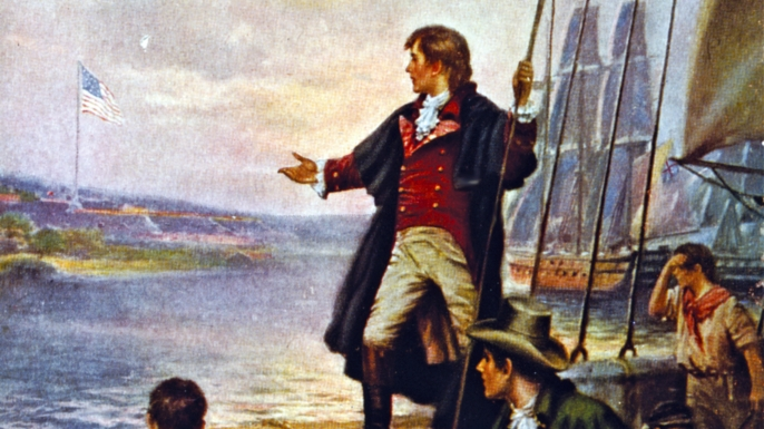 Francis Scott Key watching the bombardment of Fort McHenry.