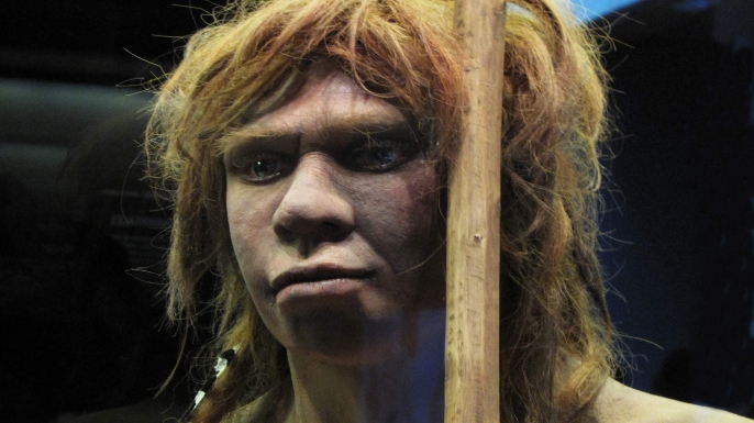 Reproduction of a Neanderthal woman at the National Archaeological Museum in Madrid, Spain