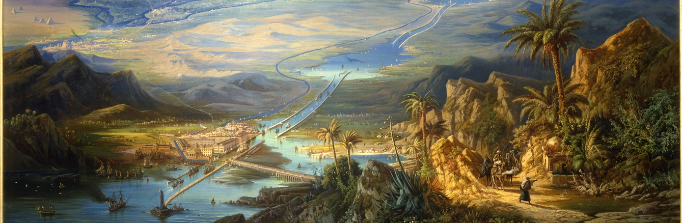 Painting of the Suez Canal by Albert Reiger