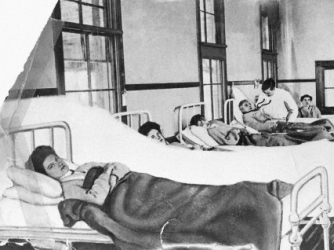 Mary Mallon in her hospital bed on North Brother Island, New York. (Credit: Bettmann/Corbis)