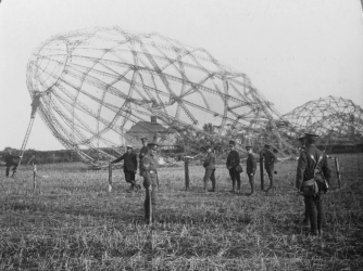 Zeppelin shot down near Colchester, England in 1916