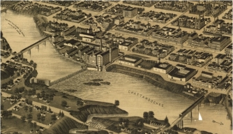 Vintage map of Columbus and targeted bridges.