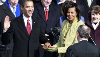 Barack Obama takes the presidential oath office, January 20, 2009