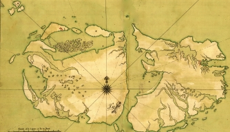 Map of the Falklands Islands, or Islas Malvinas, 1700s.
