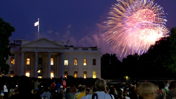 Fireworks explode over the White House on July 4, 2009.