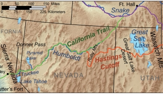 Map showing route of the Donner Party.