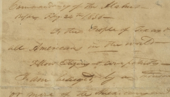 "William Travis' 18365 ""Victory or Death"" letter."