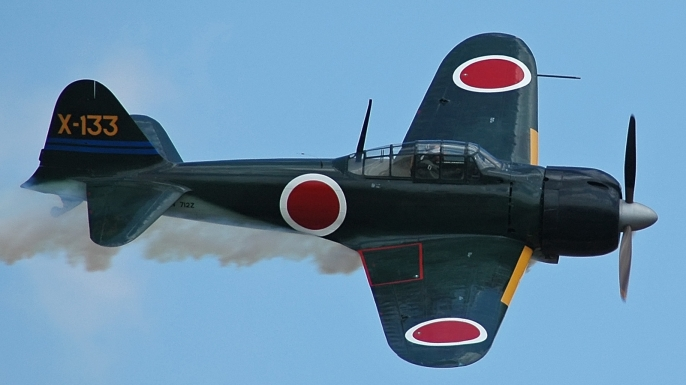 A model of the Japanese Zero fighter plane.