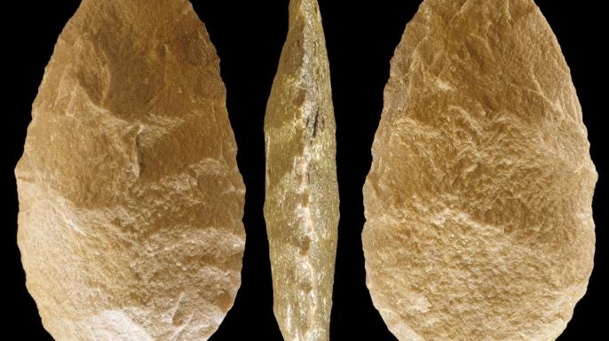 Acheulean hand axe from Kolombo Falls site, Africa.