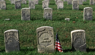 Headstones at Antietam National Cemetery mark the graves of soldiers killed during the Battle of Antietam in Sharpsburg, Maryland.