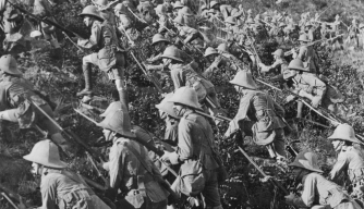 British troops advancing at Gallipoli, August 1915.