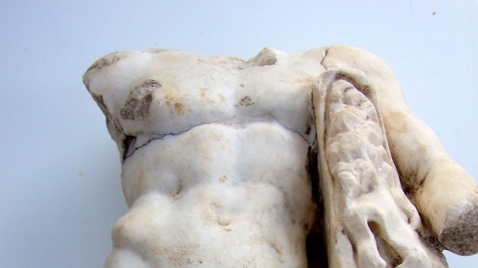 Detail of a second-century marble statue of Hercules recently discovered at Horvat Tabernet, a site in northern Israel.