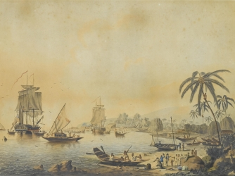 Painting showing Cook's ships Resolution and Adventure in Tahiti.