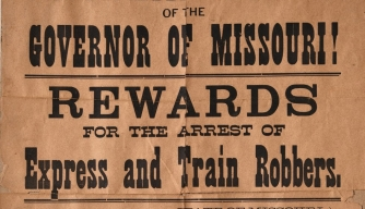 A wanted poster advertising a reward for the capture of Frank and Jesse James.