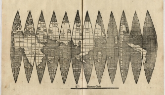 "A newly discovered copy of the map by Martin Waldseemüller and Matthias Ringmann that first included the name ""America."""