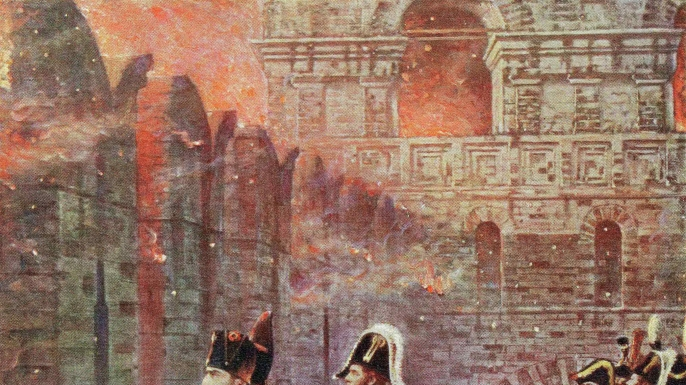 Napoleon watches as Moscow burns in a 20th-century book illustration.