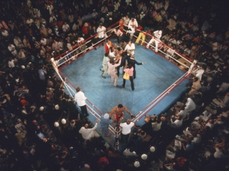 Aerial view of the ring following Ali's victory (Credit: Neil Leifer /Sports Illustrated/Getty Images)