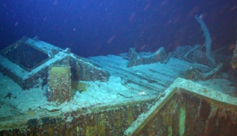 Robotic technology produced videos and photos of the Gairsoppa wreck that showed many details of its construction, including the skylight over the engine room and lifeboat cradle pictured here.