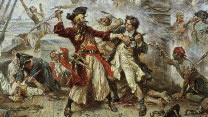 A 1922 depiction of the notorious pirate Blackbeard, born Edward Teach around 1680.