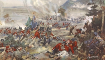 The Battle of Queenston Heights, in which U.S. troops led by General Stephen Van Rensselaer were defeated by British and Canadian forces.