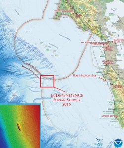The shipwreck site of USS Independence near Half Moon Bay, California. (Credit: NOAA's Office of Ocean Exploration and Research/NOAA's Office of National Marine Sanctuaries)