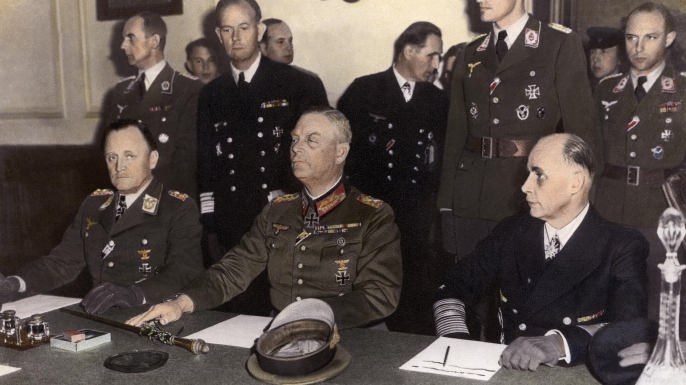General Stumpf, Marshall Keitel and Admiral Friedeburg sign the German Instrument of Surrender at Russian headquarters in Berlin on May 8, 1945. (Credit: Keystone-France/Gamma-Keystone via Getty Images)