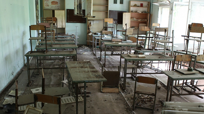 An abandoned school in Pripyat, Ukraine