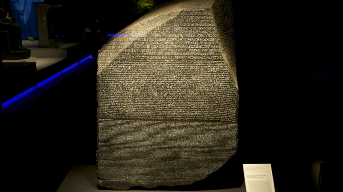 Replica of the Rosetta Stone on display in Spain. (Credit: Juan Naharro Gimenez/Getty Images)