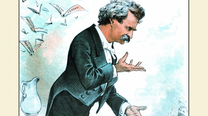 Cartoon depicting Twain on the lecture circuit. (Credit: Transcendental Graphics/Getty Images)
