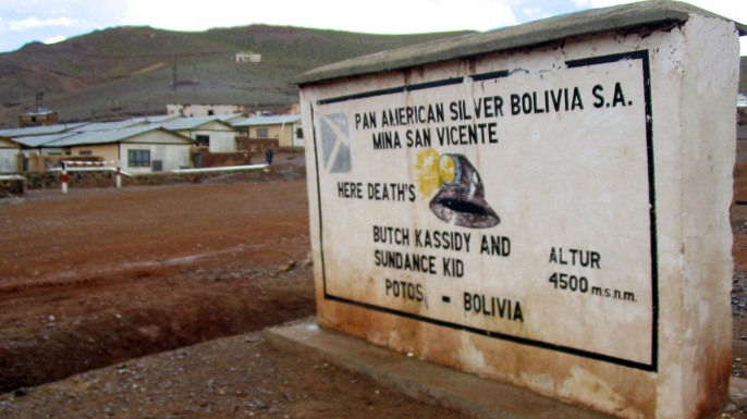 A marker near San Vicente, Bolivia, which claims to be the final resting place of Butch Cassidy and the Sundance Kid.