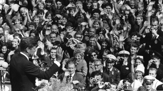 John F. Kennedy delivers a speech to a massive crowd in Berlin, Germany, June 26, 1963. (Credit: PhotoQuest/Getty Images)