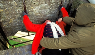 Ireland, Blarney Castle, Kissing The Blarney Stone. (Photo by Education Images/UIG via Getty Images)