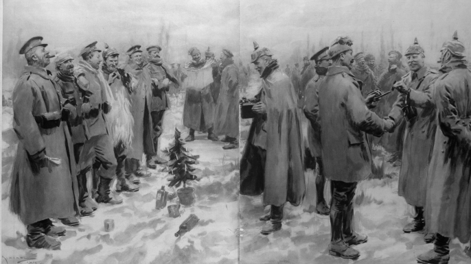 Depiction of the Christmas Truce of 1914 showing German and English soldiers during ceasefire., WWI