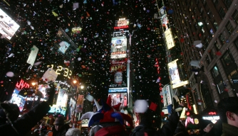 Revelers celebrate New Year's Eve in Times Square.