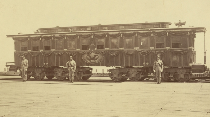 Railroad car carrying Abraham Lincoln's body, April 1865.