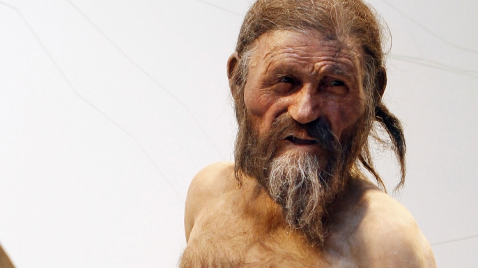 Scientist's reconstruction of Ötzi the Iceman.