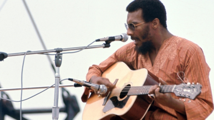 Richie Havens performing at Woodstock on August 15, 1969.