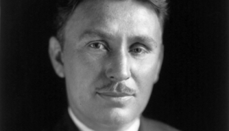 Wiley Post, wearing eye patch for portrait.