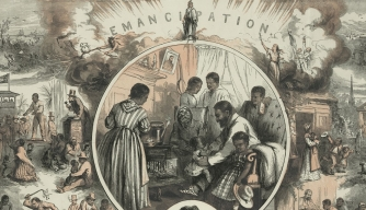 Thomas Nast illustration depicting emancipation.