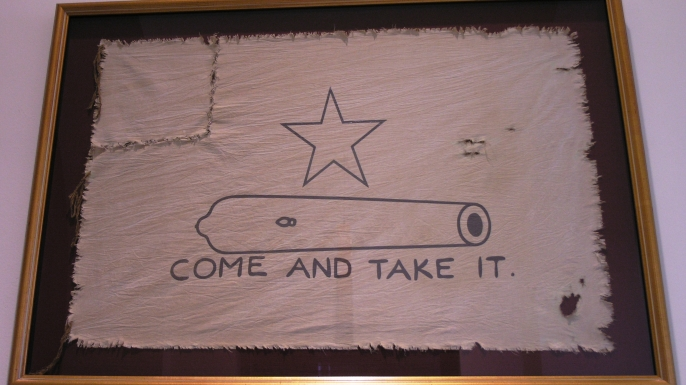 "eproduction of the ""Come and Take It"" flag."