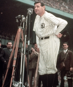 Ruth addresses crowd at Yankee Stadium in 1948, shortly before his death. (Credit: Ralph Morse/Time & Life Pictures/Getty Images)