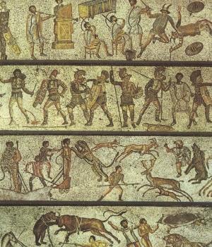 "1st century A.D. mosaic depicting ""bestiarii."""