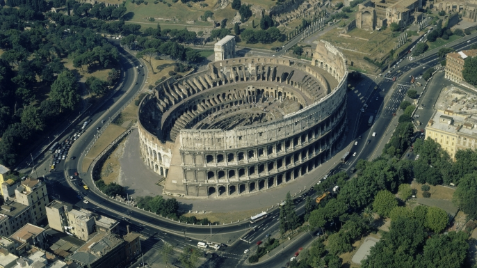 72-82 A.D., Rome, Italy --- Aerial view of the Colosseum, in Rome. --- Image by © Alinari Archives/CORBIS