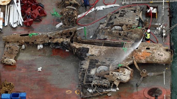 Damaged Do-17 on deck.